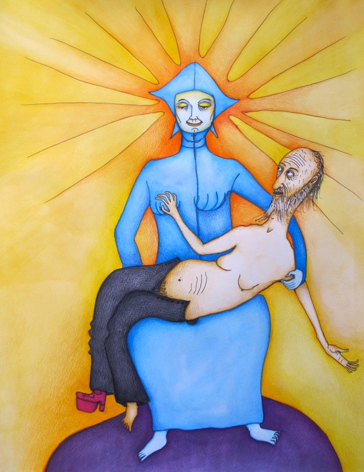 La vierge du grand-père (2014) Mixed on paper by Alejandro Jodorowksy and Pascale Montandon. 65 x 50 cm