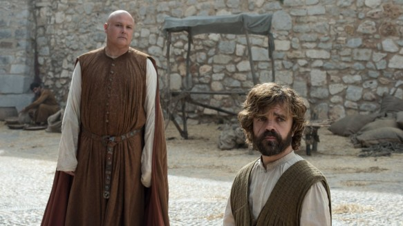 Varys and Tyrion Lannister (Conleth Hill and Peter Dinklage) were last seen in Meereen, trying to rule the city with Grey Worm and Missandei in the absence of Daenerys Targaryen.