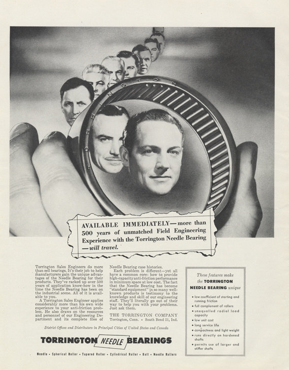 1955 Torrington Needle Bearings Ad