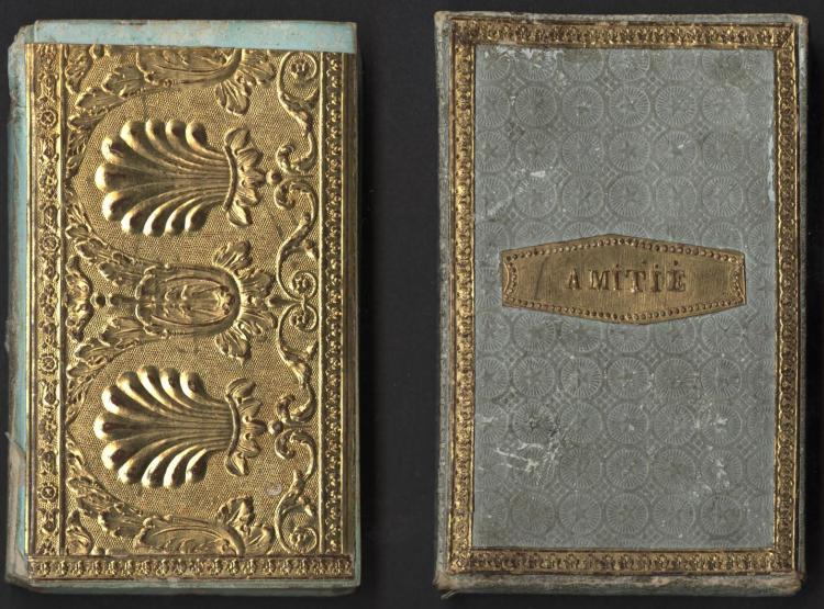Koster. Hamburgischer Taschen-Kalender auf das Schalt-Jahr 1828 Hamburg : F.H. Nestler, [1827?]. Glazed paper binding with embossed gold paper onlays and embossed cartonnage slipcase with gold paper onlays.
