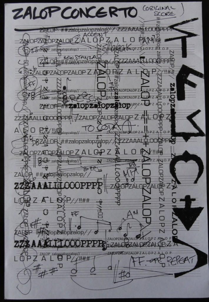 """Zalop Concerto in No Particular Key"" by IUOMA members Cheryl Penn (South Africa) inspired by a performance score and Fluxus word by Ruud Janssen (Netherlands) and ZALOP video by Eduardo Cardoso (Portugal)."