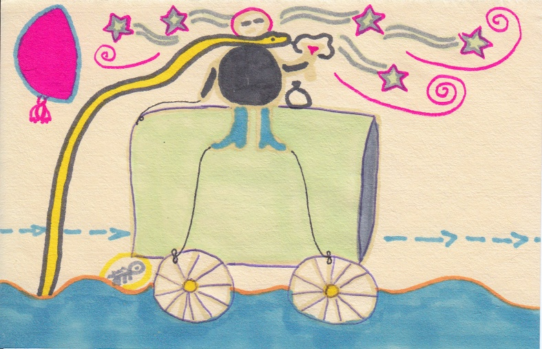 A man is drunk and dreaming on a wagon that drifts eternally on the sea - a bat hangs from the moon. 2014