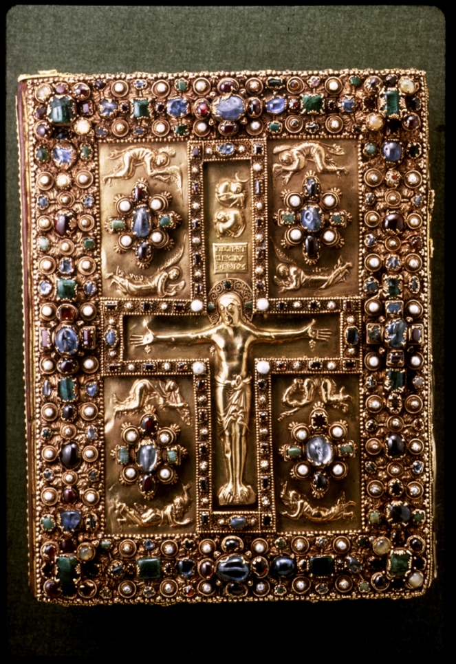 Lindau Gospel Book Cover The Lindau Gospel Book Cover is a signatory representative of the early and mid 9th century due to its quality to compel and garner admiration from the common masses. The cover exemplifies the attributes of many other works from its period. It is a safe assumption that the majorityof the citizens that lived during the time these works were created couldn't read, and that works of art such as the book cover could function as a metaphor for the story contained within. Stories like the Passion could be depicted on a slab of stone or pressed into a sheet of gold to show levels of importance on particular moments.