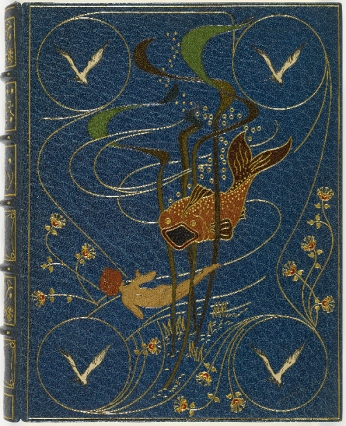 The  Water-Babies Charles Kingsley. London,  1886.  100  illustrations  by  Linley  Sambourne.  Elaborate  blue  morocco  binding  by  Kelliegram  featuring  morocco  inlays  of  a  fish,  a  child  swimming,  and  seagulls,  spine  lettered  gilt,  edges  gilt.    Blue  cloth  folding  case.