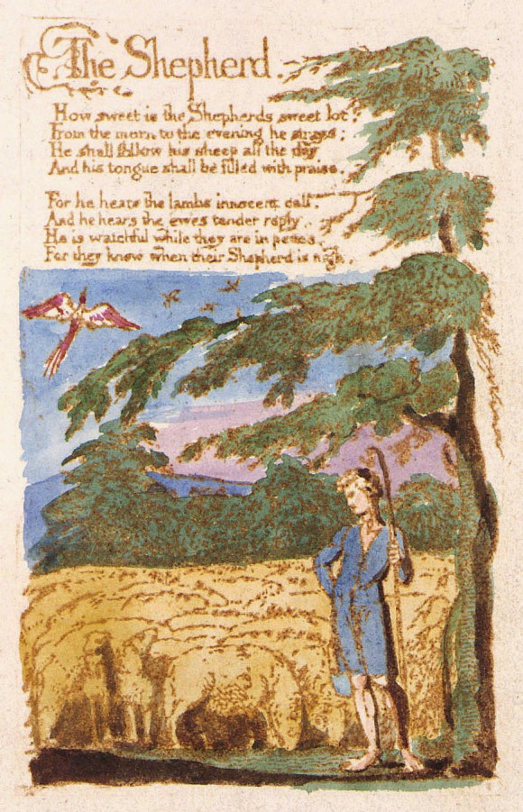 """Copy B of William Blake's hand-painted print of """"The Shepherd"""". This copy, printed and painted in 1789, is currently held by the Library of Congress."""