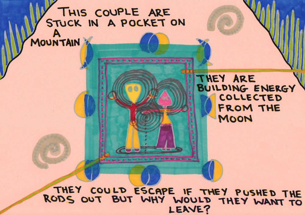 This couple are stuck in a pocket on a mountain. They are building energy collected from the moon. They could escape if they pushed the rods out but why would they want to leave? A doodle by Jay Snelling