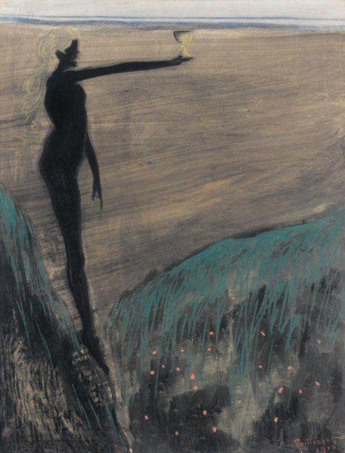 Léon Spilliaert - Femme nue tenant une coupe (c.1910)