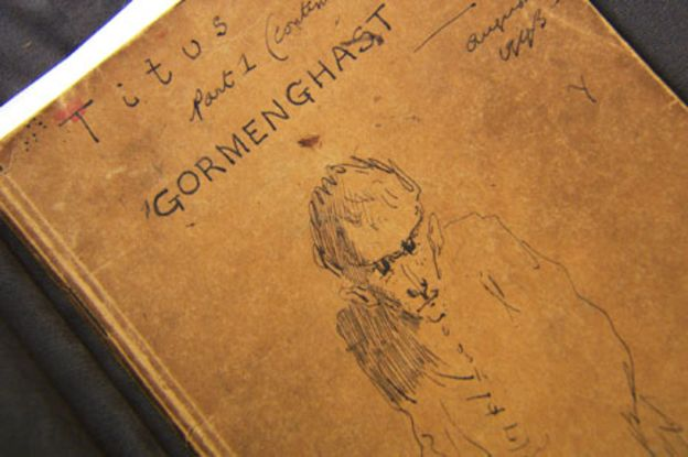 Peake's notebook for Gormenghast, bearing his own illustrations