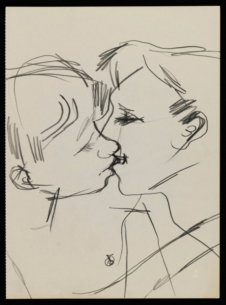 Keith Vaughan (1912-1977) Drawing of two men kissing 1958-73 Tate Archive © DACS, The Estate of Keith Vaughan